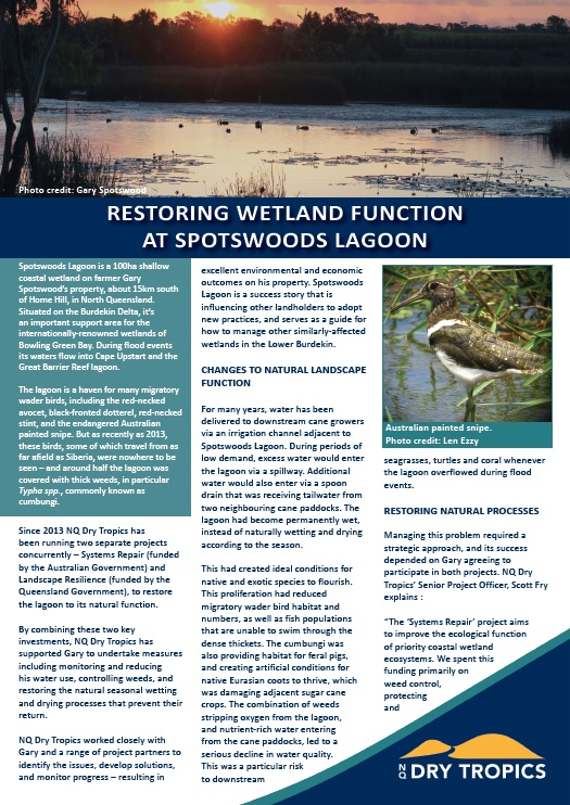 Spotswoods Lagoon Case Study