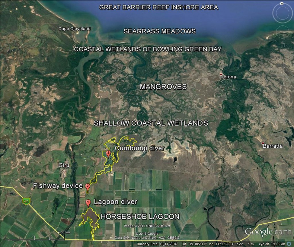 Map: Project area and location of wetland monitoring devices. Imagery via GoogleEarth