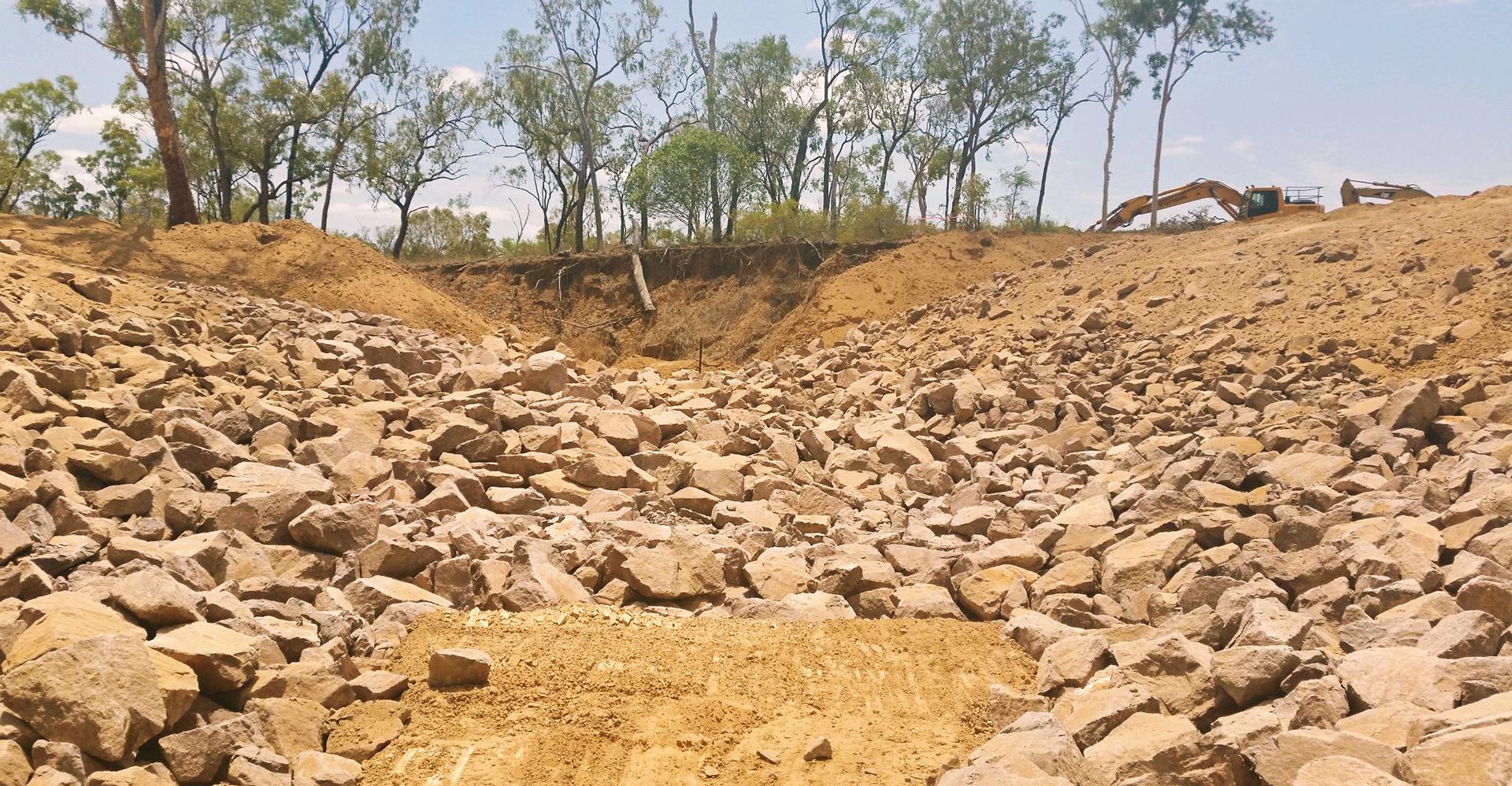 Rock chute gully remediation