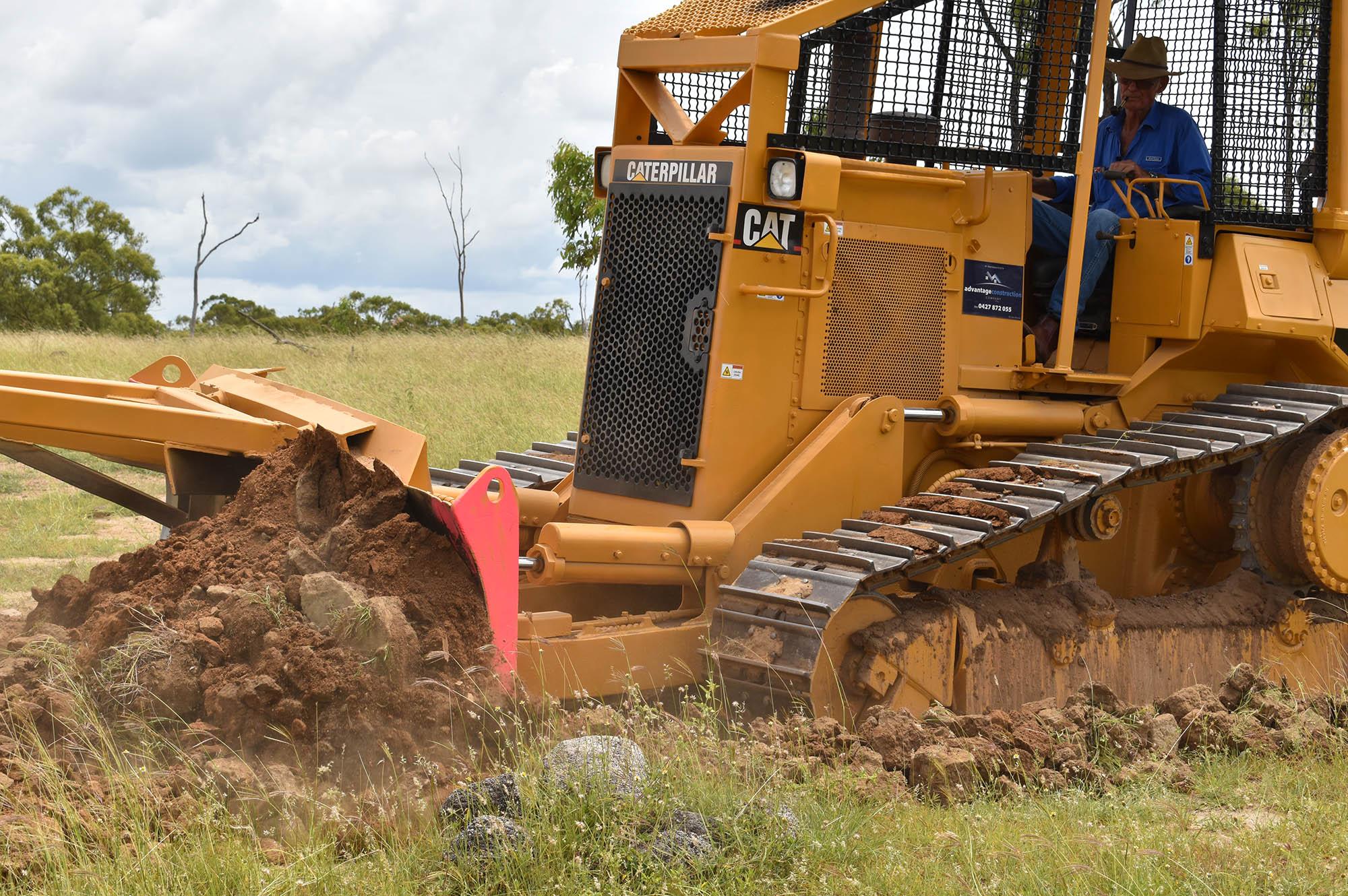 Constructing the erosion control bank (whoa boy)