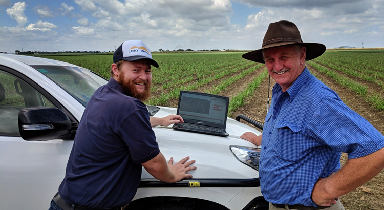 NQ-Dry-Tropics-Project Officer Michael Hobbs and Burdekin cane grower Gordon Brown