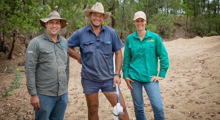 TropWater's Steve Lewis, Buster O'Loughlin, of Exevale Station, LDC's Barb Colls