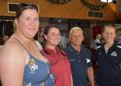 ALL SMILES... pictured (from left) are: Hannah Russell (Agricultural Extension Trainee, hosted with Bundaberg SRA), Billie White (Farmacist), cane grower Ross Gambino and Claire Bailey (BPS)