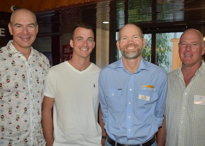 Pictured, from left are: Pacific Bio Sustainability Manager Wayne Di Bartolo, Pacific Bio Environmental Officer Kristian Mulholland, NQ Dry Tropics Sustainable Agriculture Manager Rob Hunt and Gavan Lamb, SRA.