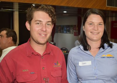 Agricultural Extension Trainees Mika Rowston (Farmacist) and Sarah Ziebarth (NQ Dry Tropics) swap stories at the End Of Year Sugar function hosted by NQ Dry Tropics.
